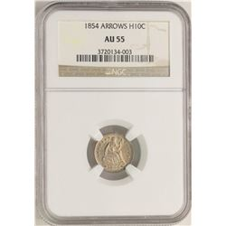 1854 Arrows Seated Liberty Half Dime Coin NGC AU55