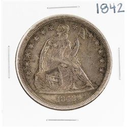 1842 $1 Seated Liberty Silver Dollar Coin
