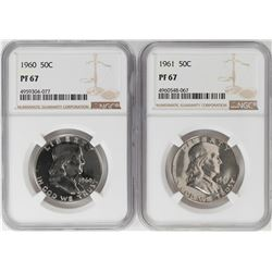 Lot of 1960-1961 Proof Franklin Half Dollar Coins NGC PF67