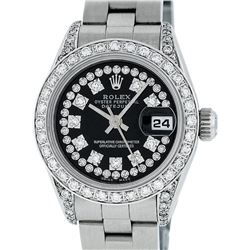 Rolex Ladies Stainless Steel Black Diamond Lugs Oyster Quickset Datejust Wristwa