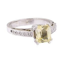 2.38 ctw Yellow Sapphire and Diamond Ring - 18KT Yellow Gold and Platinum
