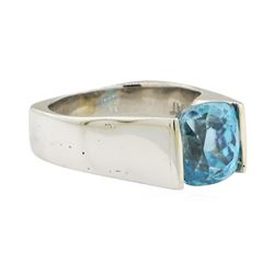 6.36 ctw Blue Zircon Ring - Platinum