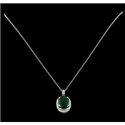 7.50 ctw Emerald and Diamond Pendant With Chain - 14KT White Gold