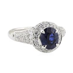 2.68 ctw Sapphire and Diamond Ring - 18KT White Gold