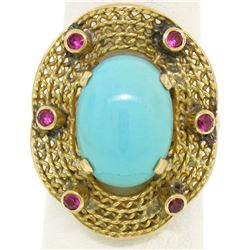 18k Yellow Gold 5.3 ctw Persian Turquoise & Ruby Wavy Halo Ring