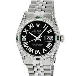 Rolex Mens Stainless Steel Black Roman Diamond & Emerald Datejust Wristwatch Wit