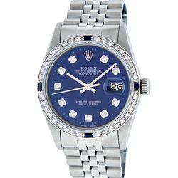 Rolex Mens Stainless Steel Blue Diamond & Sapphire Datejust Wristwatch