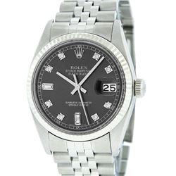 Rolex Mens Stainless Rhodium Diamond 36MM Datejust Wristwatch