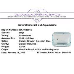 4.27 ct.Natural Emerald Cut Aquamarine