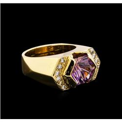 3.00 ctw Amethyst and Diamond Ring - 14KT Yellow Gold