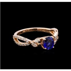 0.71 ctw Sapphire and Diamond Ring - 14KT Rose Gold