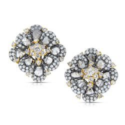 18k Two Tone Gold  6.31CTW Diamond and Sliced Dia Earrings