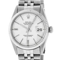 Rolex Mens Stainless Steel 36MM Silver Index 36MM Datejust Wristwatch