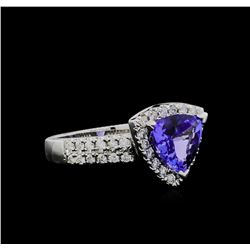 1.90 ctw Tanzanite and Diamond Ring - 14KT White Gold