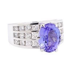 5.35 ctw Tanzanite And Diamond Ring - 14KT White Gold