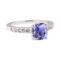2.06 ctw Blue Sapphire and Diamond Ring - Platinum