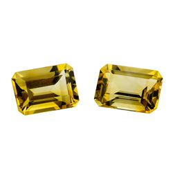 13.53 ctw.Natural Emerald Cut Citrine Quartz Parcel of Two