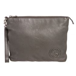Gucci Gray Leather Soho Large Travel Pouch Wristlet