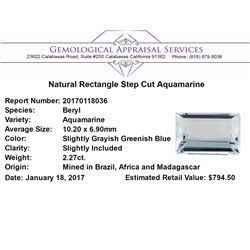 2.27 ct.Natural Rectangle Step Cut Aquamarine