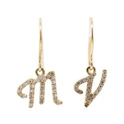 0.22 ctw Diamond Initial French Wire Earrings - 14KT Yellow Gold