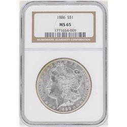 1886 $1 Morgan Silver Dollar Coin NGC MS65