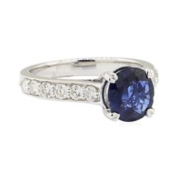 2.47 ctw Sapphire and Diamond Ring - 14KT White Gold