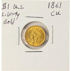 1861 $1 Liberty Head Gold Coin