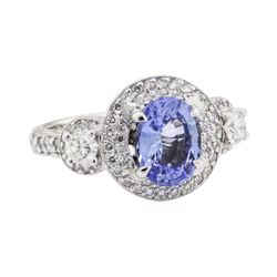 3.45 ctw Sapphire and Diamond Ring - 14KT White Gold