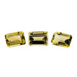 21.38 ctw.Natural Emerald Cut Citrine Quartz Parcel of Three