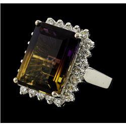 12.15 ctw Ametrine Quartz and Diamond Ring - 14KT White Gold
