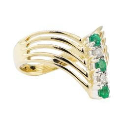 0.30 ctw Emerald and Diamond Ring - 14KT Yellow Gold