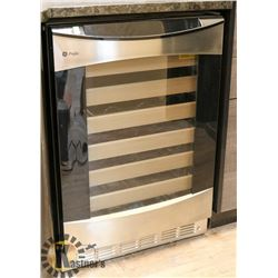 BLACK AND STAINLESS STEEL GE PROFILE WINE CHILLER.
