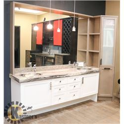 GRANITE STYLE DOUBLE SINK VANITY WITH SIDE CABINET