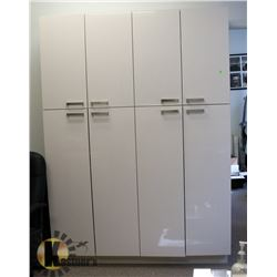 """8 DOOR GLOSSY WHITE CABINET 60"""" X 84"""". SOLD WITH"""