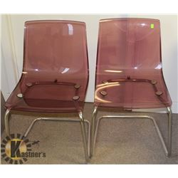 PAIR OF CLEAR PLASTIC AND CHROME SIDE CHAIRS.
