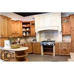 LARGE GRANITE TOP AND WOOD KITCHEN CABINET SET