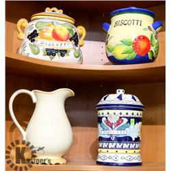 LOT OF 4 CANISTERS/PITCHERS.