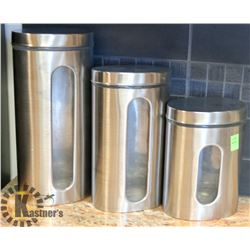STAINLESS STEEL 3 PIECE CANISTER SET.
