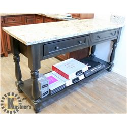 """MARBLE TOP ISLAND WITH DRAWERS. 24.5"""" X 70""""."""