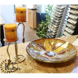 LARGE DECORATIVE PLATE SOLD WITH CANDLE HOLDER.