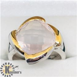 BRASS ROSE QUARTZ MEN'S RING