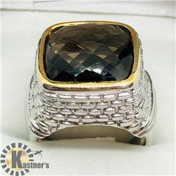 BRASS SMOKEY TOPAZ MEN'S RING