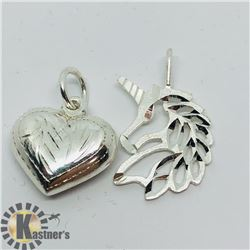SET OF 2 SILVER PENDANTS
