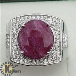 SILVER RUBY CUBIC ZIRCONIA MEN'S RING
