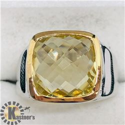 BRASS LEMON TOPAZ MEN'S RING