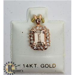 14K ROSE GOLD MORGANITE DIAMOND PENDANT