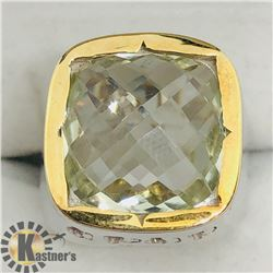 BRASS GREEN AMETHYST MEN'S RING