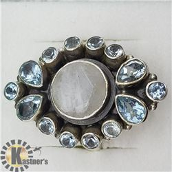 SILVER MOONSTONE BLUE TOPAZ RING
