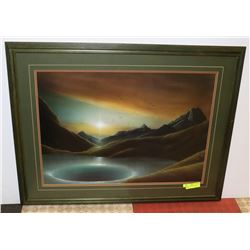 MOUNTAIN-LARGE PAINTING FRAMED