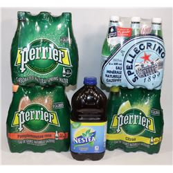 BOX OF PERRIER WATER AND S.PELLEGRINO